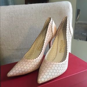 Ferragamo Pink Perforated Lace Pumps 9.5 B